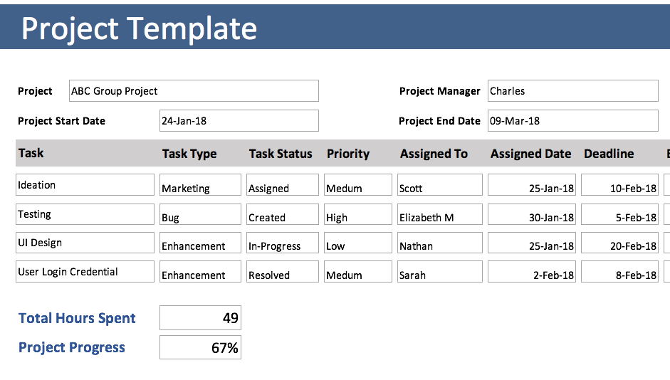 Free Excel Project Tracking Template